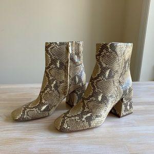 Sam Edelman Snakeskin Brown Block Heel Boots